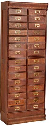 Rejuvenation Tall 30-Drawer Oak Filing Cabinet