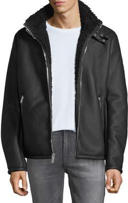 Karl Lagerfeld Paris Men's Faux Shearling Buckle Jacket