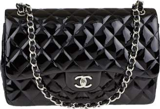 Chanel Classic Double Flap Quilted Patent Leather Silver-tone Jumbo Black