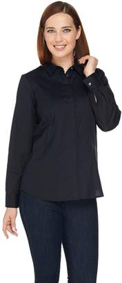 Denim & Co. Button Front Blouse with Princess Seams