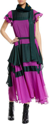 Sacai Layered Colorblocked Satin-Chiffon Boho Dress
