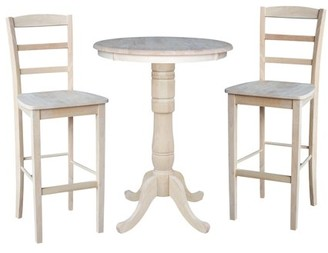 "INC International Concepts 30"" Round Pedestal Bar Height Table with 2 Madrid Stools - Unfinished - 3 Piece Set"