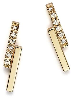 Chicco Zoë 14K Small Staggered Bar Stud Earrings with Diamonds