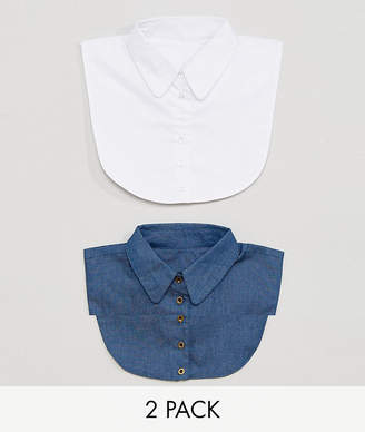 Asos 2 pack Bibs In Denim And White