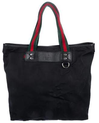 831d41bc85985 Gucci Leather-Trimmed Nylon Tote