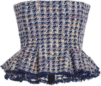 Brock Collection Palma Strapless Peplum Tweed Top