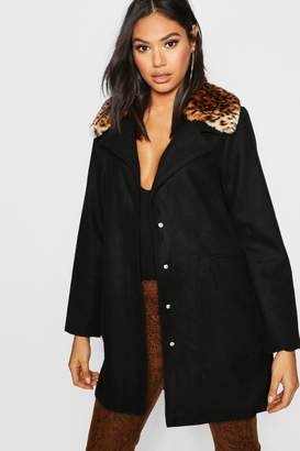 boohoo Tall Leopard Print Faux Fur Collar Wool Look Coat