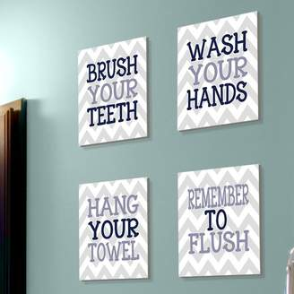 Laundry by Shelli Segal Harriet Bee 'Pierce Chevron Bathroom Rules' 4 Piece Textual Art Wall Plaque Set