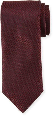 Canali Textured Solid Silk Tie, Burgundy Red