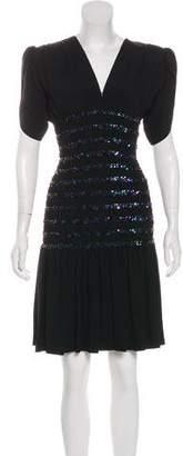 Saint Laurent Embellished Knee-Length Dress