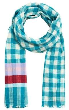 MANGO Fringed check scarf