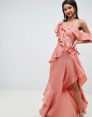 Asos DESIGN floaty satin ruffle maxi dress