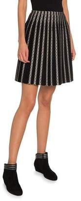 Alaia Vertical Striped Pleated Short Skirt