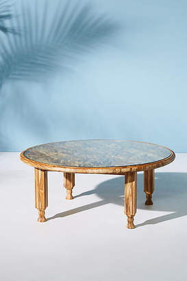 Anthropologie Carved Teak Coffee Table