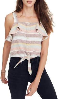 Madewell Texture & Thread Ruffle Tie Front Tank