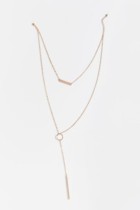 francesca's Genevieve Layered Bar Pendant in Rose Gold - Rose/Gold