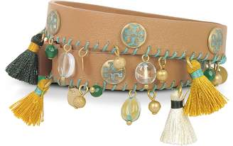 Tory Burch Aged Vachetta Leather and Vintage Gold Brass Tassel Double Wrap Bracelet