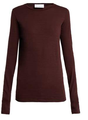 Raey Long Sleeved Slubby Cotton Jersey T Shirt - Womens - Burgundy