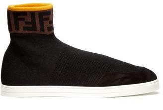 Fendi Logo Embellished High Top Sock Trainers - Mens - Black
