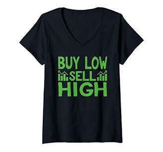 Womens Buy Low Sell High Stock Market Business V-Neck T-Shirt