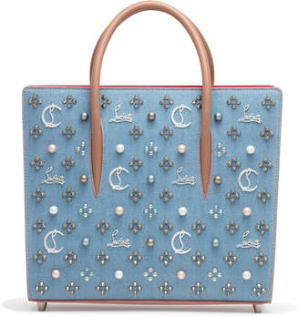 Christian Louboutin Paloma Loubinthesky Medium Blue Denim Pearl Tote Bag