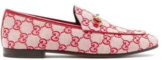 Gucci Jordaan Logo Jacquard Loafers - Womens - Red Multi