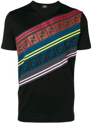 Fendi diagonal logo stripe T-shirt
