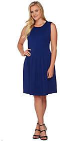Shape Fx Ponte Knit Pleated Dress with PowerMesh Slip