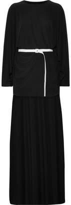Norma Kamali Belted Asymmetric Jersey Dress - Black
