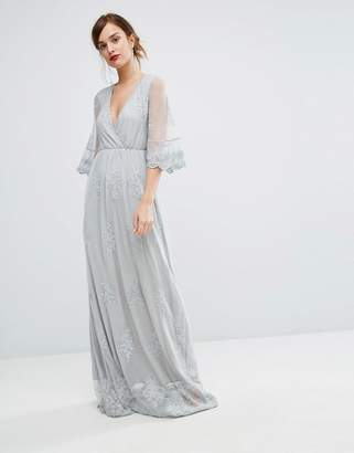 Club L Embroided Detailed Lace Wrap Front Maxi Dress