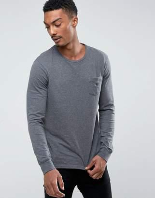 Polo Ralph Lauren Long Sleeve Top Pocket Custom Regular Fit In Charcoal Marl
