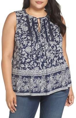 Lucky Brand Sleeveless Lace Trim Top (Plus Size)