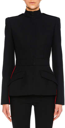 Alexander McQueen Side-Stripe Wool-Blend Military Jacket