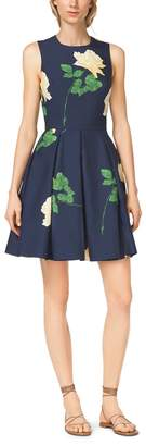 Michael Kors Rose-Print Silk Mikado Dance Dress