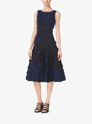Michael Kors Poppy-Embroidered Cotton-Matelasse Dress