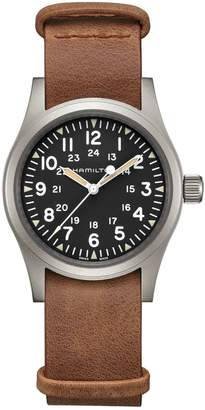 Hamilton Field Stainless Steel Leather-Strap Watch