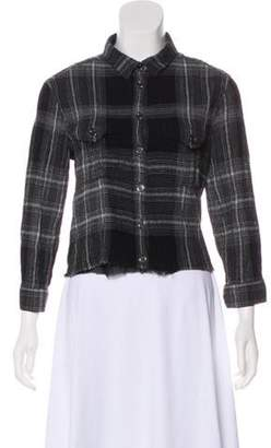Burberry Plaid Cropped Button-Up Top Black Plaid Cropped Button-Up Top