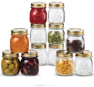 Shopokus Quattro Stagioni Glass Mason Jars 8.5 Ounce Mini Jars (12-Pack) with Metal Airtight Lid, For Jam, Jelly, baby food, Crafts, Spices, Dry Food Storage, Wedding favors, Decorating Jar