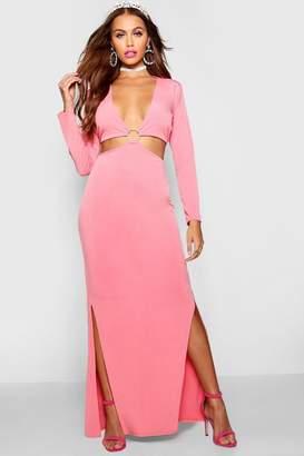 boohoo Paris Hilton Ring Detail Maxi Dress
