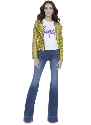 Alice + Olivia Stanton Leather Collarless Jacket