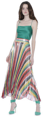 Alice + Olivia Katz Sunburst Pleat Mid Length Skirt