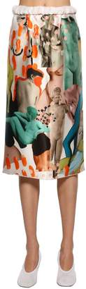 Marni Satin Multi Printed Midi Skirt