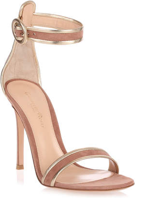 Gianvito Rossi Dark nude and gold suede sandal
