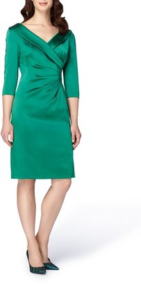 Women's Tahari Portrait Collar Satin Sheath Dress $158 thestylecure.com