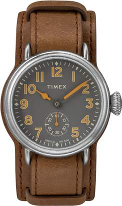 Timex R) Waterbury Welton Leather Cuff Watch, 38mm