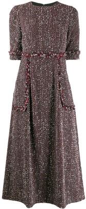 Talbot Runhof tweed midi dress