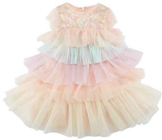 Billieblush Layered Multicolored Tulle Dress, Size 12M-3