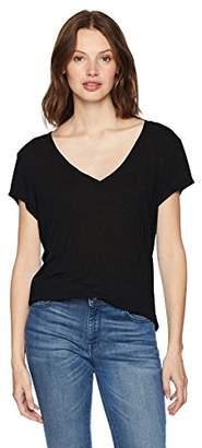 Michael Stars Women's Brooklyn Jersey Short Sleeve V-Neck with Center Back Seam