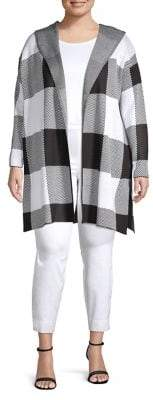 Calvin Klein Plus Plus Long Checkered Hooded Sweater Jacket
