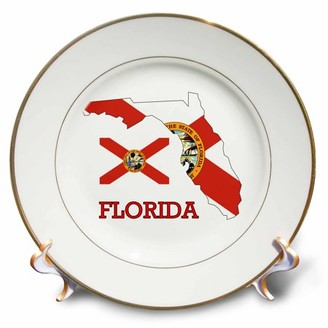 3dRose Image of Florida Exotic State Outline And Flag With Name - Porcelain Plate, 8-inch